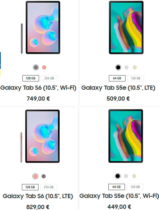diferencias entre Galaxy Tab S5e y Galaxy Tab S6